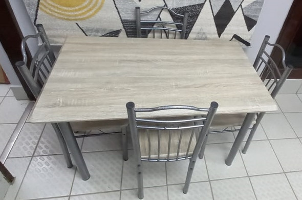 WOOD DINING TABLE POPCORN SILVER A-098 WITH 4 CHAIR SET LIGHT OAK WOOD LOOK