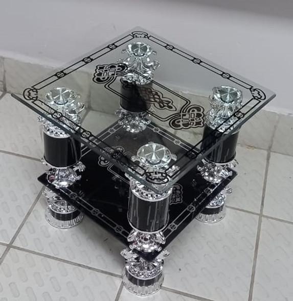 GLASS TABLE #9 2021 SQUARE BLACK & CHROME