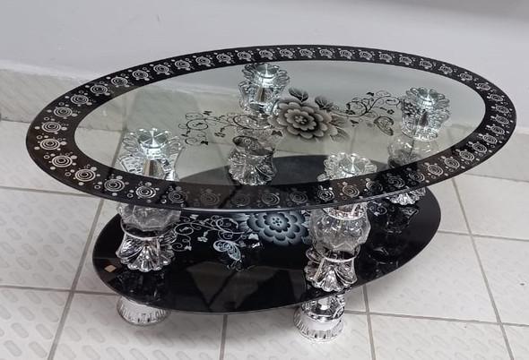 GLASS TABLE #2 2021 EGG SHAPE BLACK & CHROME