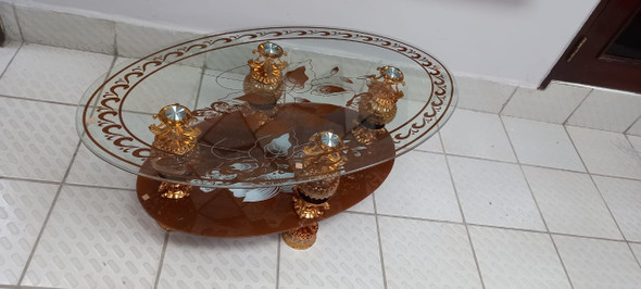 GLASS TABLE #1 2021 EGG SHAPE BROWN & GOLD