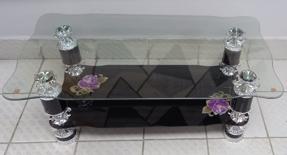 GLASS TABLE #11 2021 BLACK & CHROME WITH PURPLE FLOWER