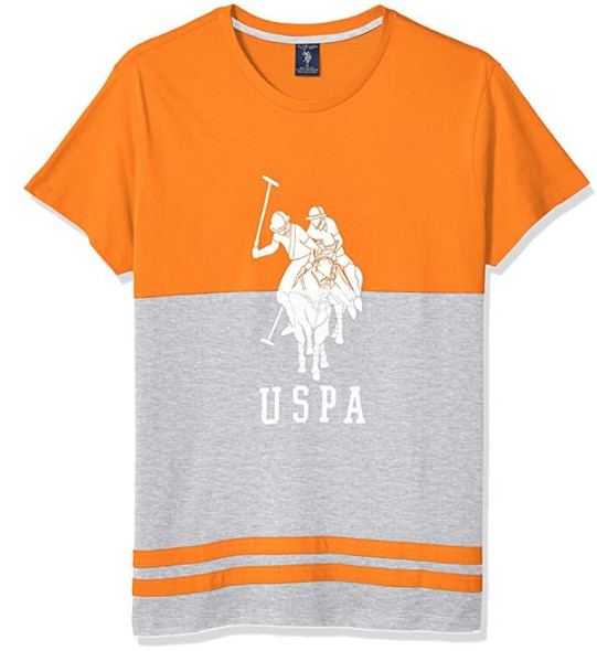 Men T-Shirt US Polo Colorblock round neck Orange & Grey