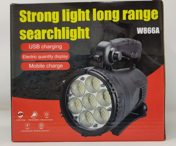 TORCH LIGHT LED SEARCHLIGHT W866A RECHARGEABLE STRONG LIGHT LONG RANGE