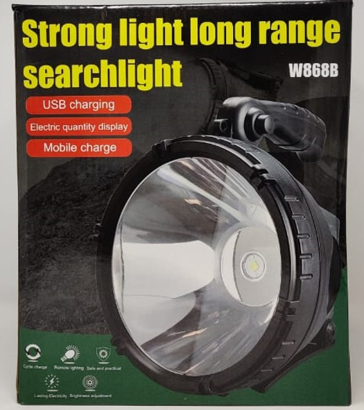 TORCH LIGHT LED SEARCHLIGHT W868B RECHARGEABLE STRONG LIGHT LONG RANGE