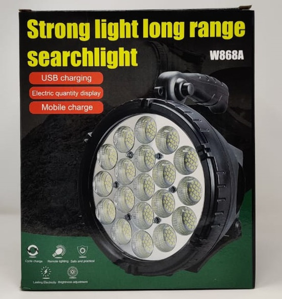 TORCH LIGHT LED SEARCHLIGHT W868A RECHARGEABLE STRONG LIGHT LONG RANGE