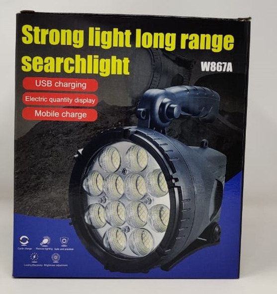 TORCH LIGHT LED SEARCHLIGHT W867A RECHARGEABLE STRONG LIGHT LONG RANGE