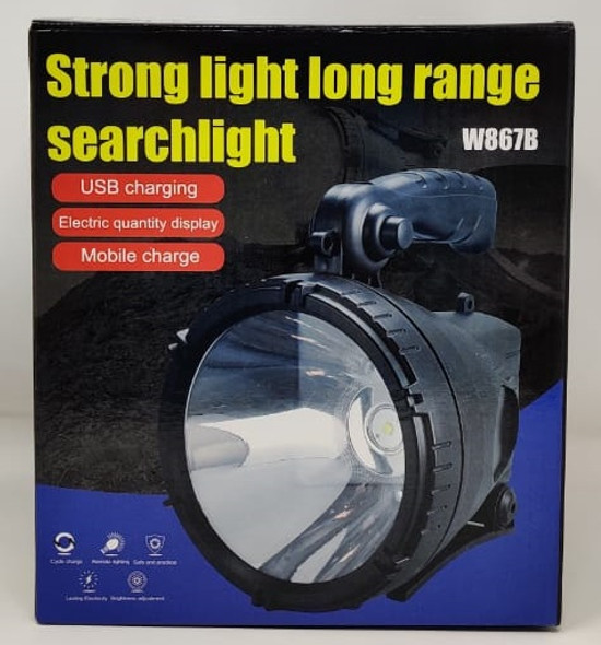 TORCH LIGHT LED SEARCHLIGHT W867B RECHARGEABLE STRONG LIGHT LONG RANGE