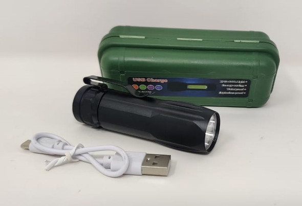 TORCH LIGHT LED IN GREEN HARD CASE RIPPLE USB CHARGE RECHARGEABLE XPE+COB.LIGHT