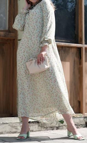 Dress Lined Chiffon Floral Plus size Mint multi