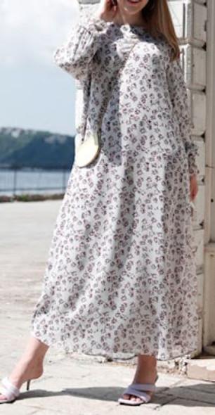 Dress Lined Chiffon Floral Plus size Plum multi