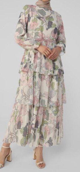 Dress Lined Chiffon Floral Tiered white & Pink