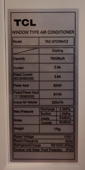 AIR CONDITIONER TCL WINDOW 7000BTU 110V TAC-07CWA/C2 DIGITAL