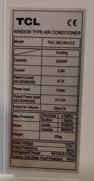 AIR CONDITIONER TCL WINDOW 8000BTU 110V TAC-08CWA/C2 DIGITAL