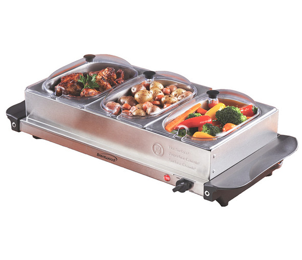 BUFFET SERVER TRIPPLE BRENTWOOD BF-315 AND WARMING TRAY