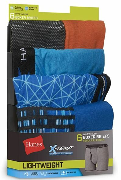 Boys Boxer Briefs Hanes X-temp Tagless  6pack