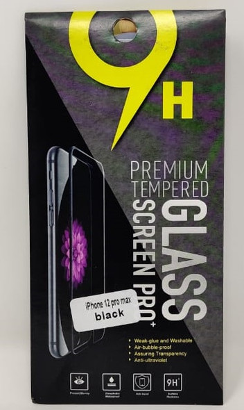 PHONE SCREEN PROTECTOR FOR IPHONE 12 PRO MAX BLACK 9H PREMIUM TEMPERED GLASS