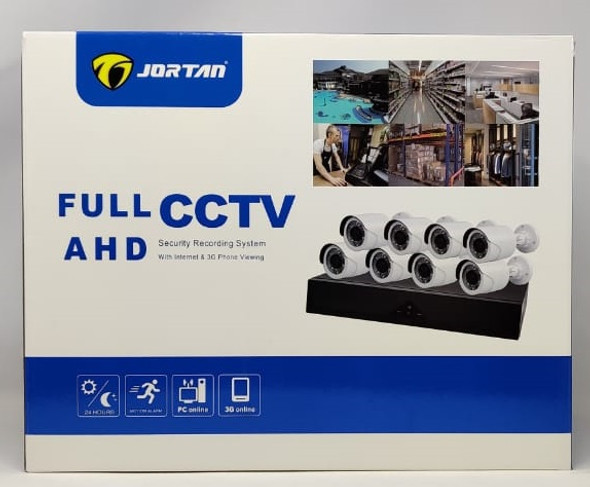 SECURITY CAMERA KIT 8-PORT DVR JORTAN 6115H-8 FULL CCTV AHD KIT