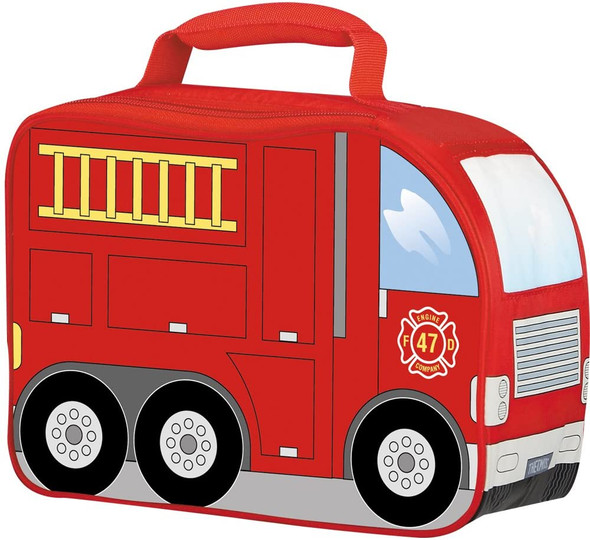 Kids Lunch Bag Thermos Insulated Red Firetruck