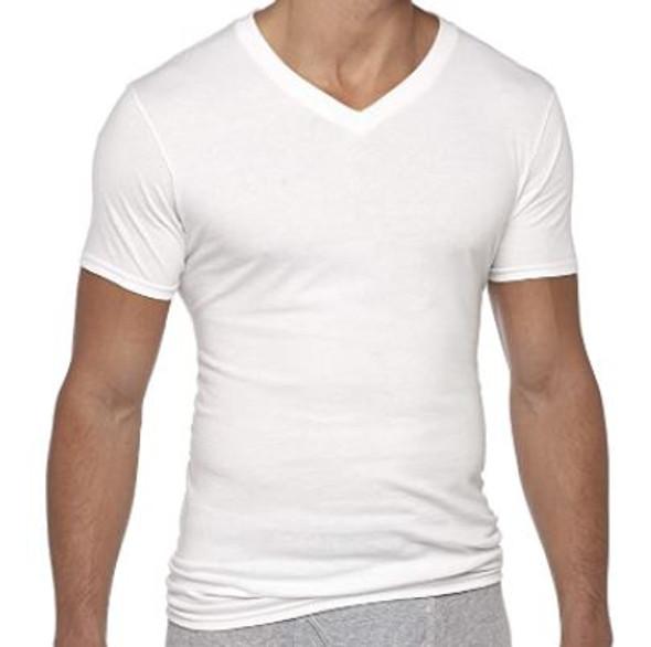 Men T-shirt Gildan White V-neck Tagfree 6 Pack