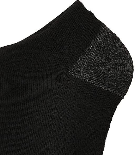 Men Socks Gildan No Show Half Cushioned Black 12 Pairs