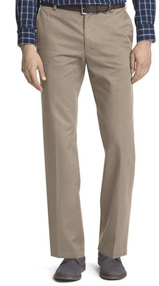 Men Pants IZOD American Chino Flat Front Straight Fit Khaki