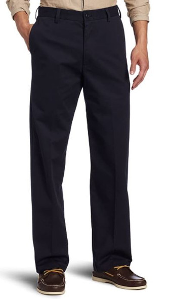 Men Pants IZOD American Chino Flat Front Straight Fit Navy