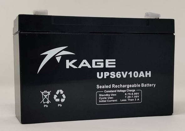 BATTERY RECHARGEABLE 6V 10AH KAGE UPS6V10AH