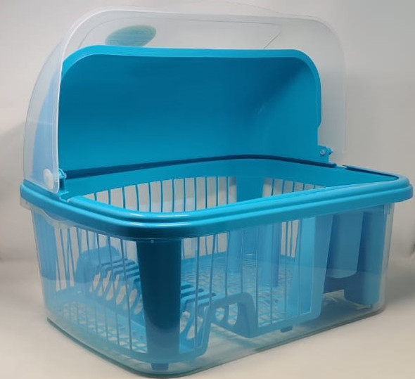 DISH RACK 1 LAYER POLINPLAST T0037300T WITH ROLL COVER PLASTIC