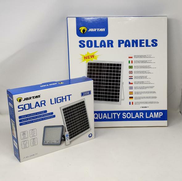 LAMP LED SOLAR FLOOD 200W JORTAN JT-BS-200W-TF + JT-BS200W-TY 6500K IP66