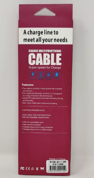 CABLE USB 3IN1 M-CBL-011-1.2M RED BOX