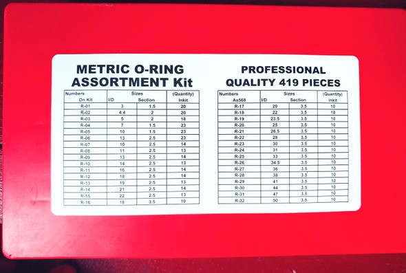 O-RING METRIC ASSORTMENT KIT RED KIT OR201 SOLD EACH
