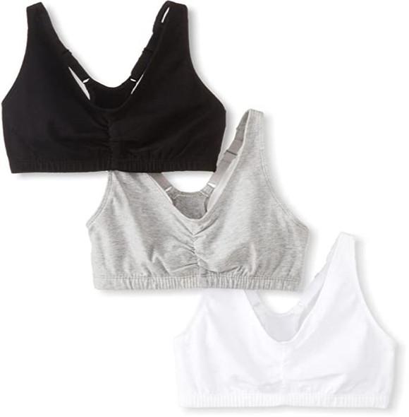 Women Sports Bra Fruit of the Loom Shirred front Racerback 3pack Black/white/Grey