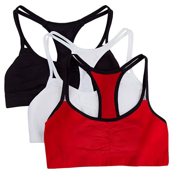 Women Sports Bra Fruit of the Loom Spaghetti Strap Cotton Pullover 3pack Red/White/black