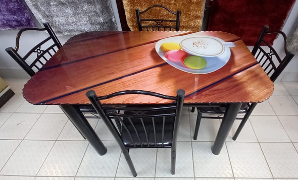 GLASS DINING TABLE A29 WITH 4 CHAIR SET COFFEE & MACARONS