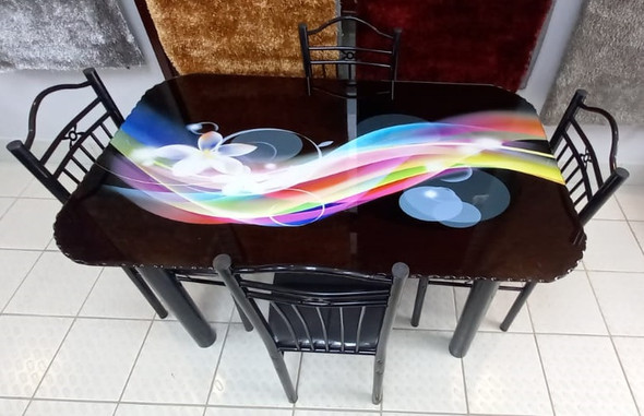 GLASS DINING TABLE SA27 WITH 4 CHAIR SET FLOWER & BUBBLE