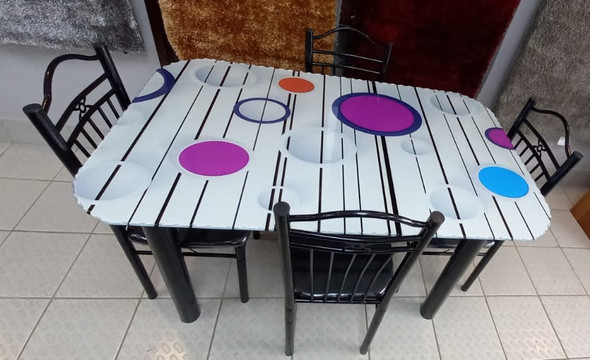GLASS DINING TABLE SA4 WITH 4 CHAIR SET PURPLE BUBBLE