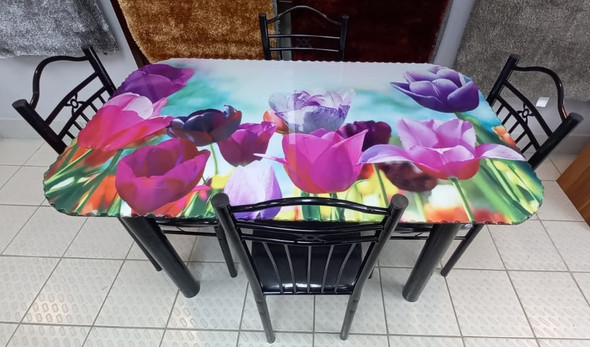GLASS DINING TABLE SA21 WITH 4 CHAIR SET PINK FLOWER
