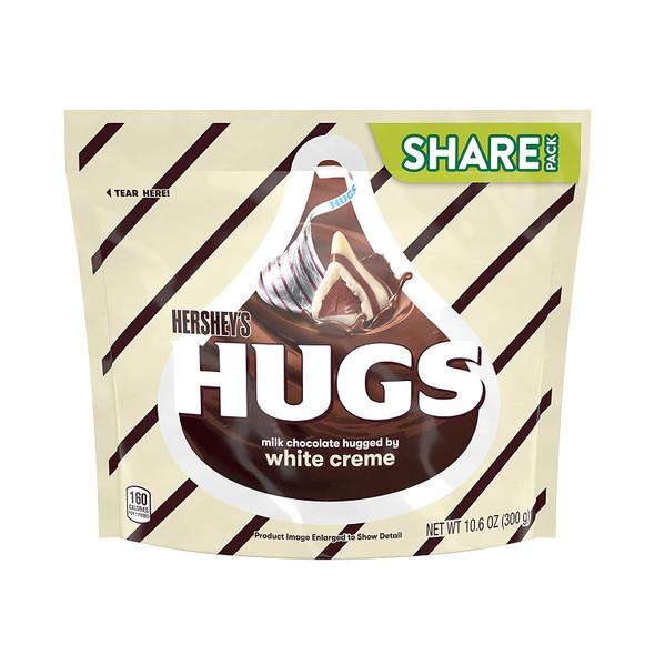 HERSHEY'S HUGS MILK CHOCOLATE HUGGED BY WHITE CREME 10.6oz 300g