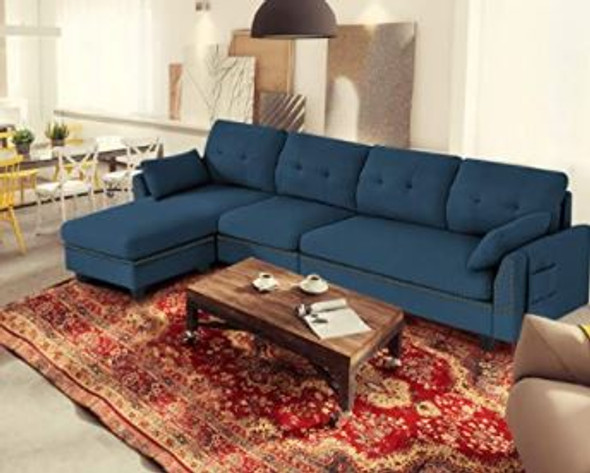 Sofa Sectional Modern Giantex Reversible  L-Shaped with Storage Ottoman  Navy