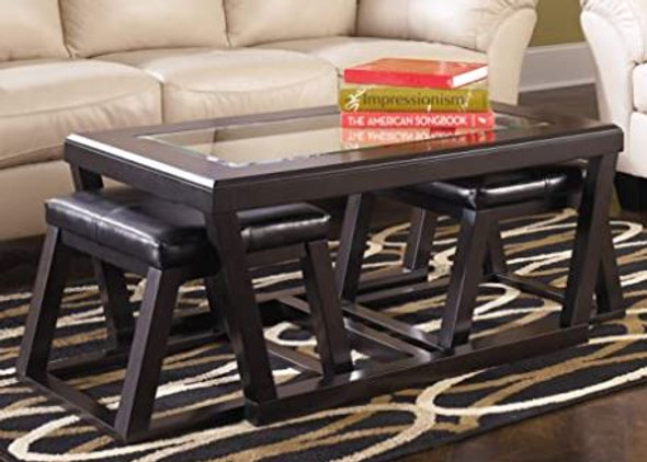 Coffee Table with Stools Signature Design by Ashley Kelton Glass Top  3pc set Espresso T592-1