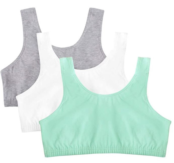 Women Sports Bra Fruit of the Loom  Built Up Tank Style  Mint/white/grey