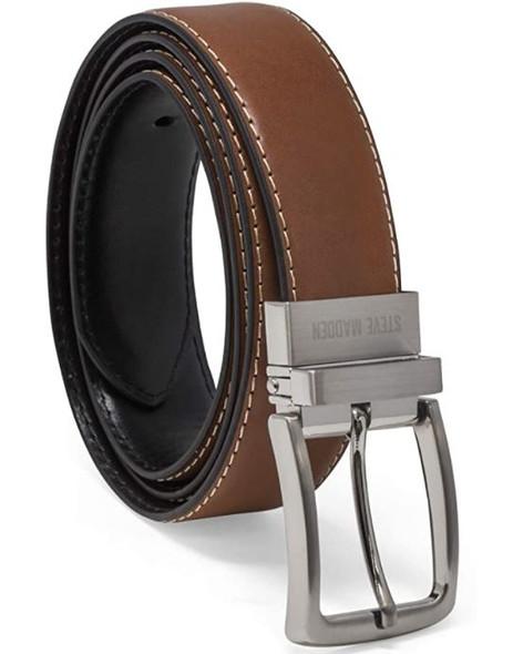 Men Belt Steve Madden Reversible Cognac/Black