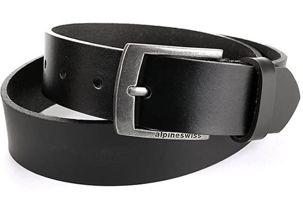 Men Belt Alpine Swiss Genuine Leather Slim Casual Jean Signature Buckle