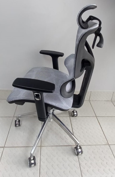CHAIR OFFICE GREY WITH HEAD REST 213#