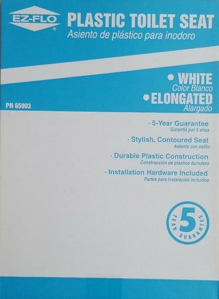 TOILET SEAT EZ-FLO ELONGATED WHITE PN 65903