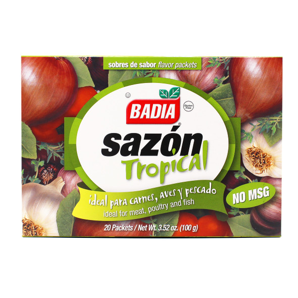 BADIA SAZON TROPICAL IDEAL FOR MEAT, POULTRY AND FISH 20 PACKETS 3.52oz 100g