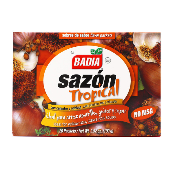 BADIA SAZON TROPICAL WITH ANNATTO AND CORIANDER IDEAL FOR YELLOW RICE, STEWS AND SOUPS 20 PACKETS 3.52oz 100g