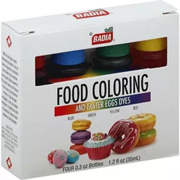 BADIA FOOD COLORING AND EASTER EGGS DYES 4-BOTTLES 0.3oz 1.2fl.oz 35ml