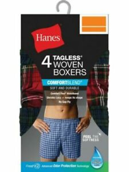Men Boxers Hanes Woven Tagless 4pack