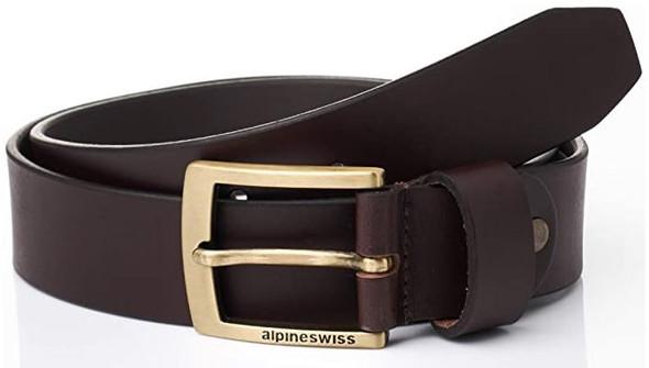 Men Belt Alpine Swiss Genuine Leather Signature Buckle Brown